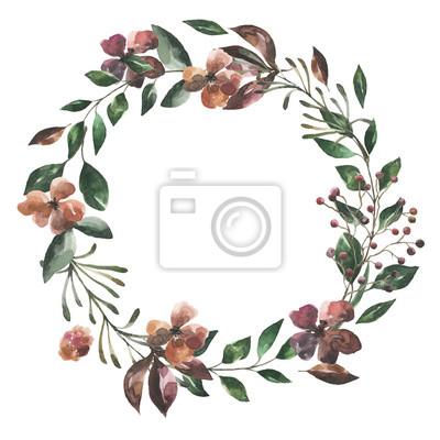 Jej kwiaty. Akwarela kwiaty i liście wieniec # 6