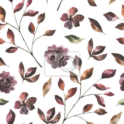 Jej kwiaty. Akwarela kwiaty i liście wzór # 2
