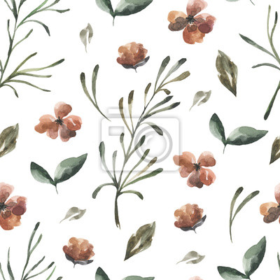 Jej kwiaty. Akwarela kwiaty i liście wzór # 3