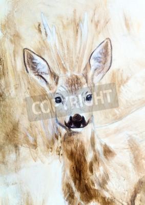 Obraz jelenie głowy sepia szkic malarski,