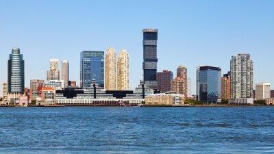 Jersey City riverside on a sunny summer day, USA.