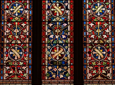 Obraz Jersey, U.K. August 1st 2019, 19th century stained glass window of St Martin's Church.
