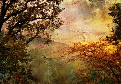 jesień krajobraz - kompozycji w stylu malarstwa
