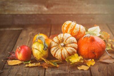 Obraz Jesień - tło z dyni, jabłka i Co - Retro Look