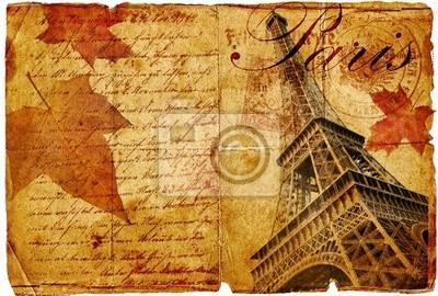 jesień w Paris -vintage piśmie