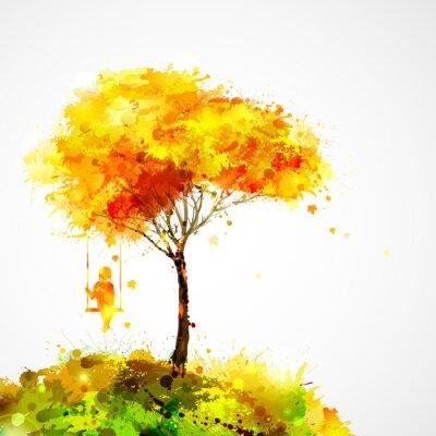 Obraz jesienią drzewa. Dreaming dziewczyna na huśtawce