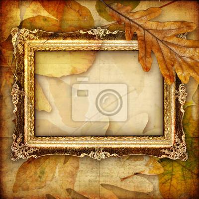 jesienią składu z antykami ramki