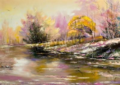 Obraz Jesienny krajobraz z śniegu i rzeki