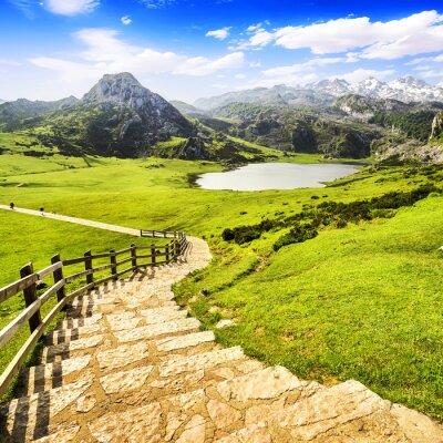 Obraz Jezioro Ercina, jednym z jezior Covadonga, Asturia, Hiszpania.
