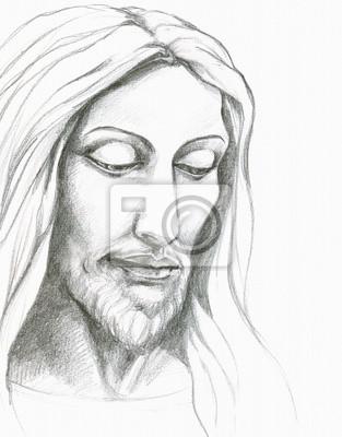 Obraz Jezus Chrystus Ołówek Na Wymiar Sztuka Wykonany Ręcznie