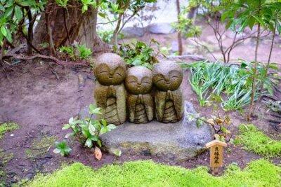 Obraz Jizo sculpture doll (little Japanese Buddhist monk doll rock) in Japanese Garden