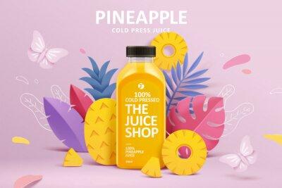 Obraz Juice ad in 3d paper cut design