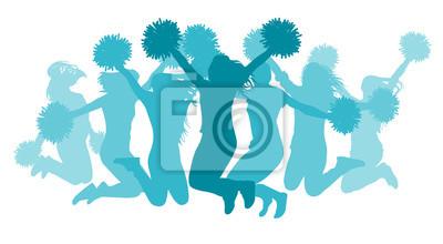 Obraz Jumping girls(cheerleaders) silhouette, isolated. Vector illustration.