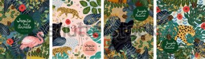 Obraz Jungle, animals and tropics. Vector illustrations of flamingo, panther, tiger, leopard, palm leaves, flowers and textures. Drawings for poster, background and cover
