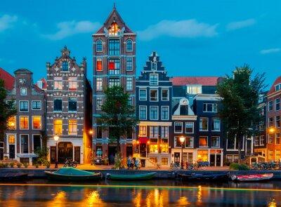 Obraz kanałów w Amsterdamie.