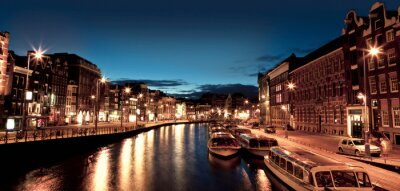 Obraz Kanały Amsterdam nocą