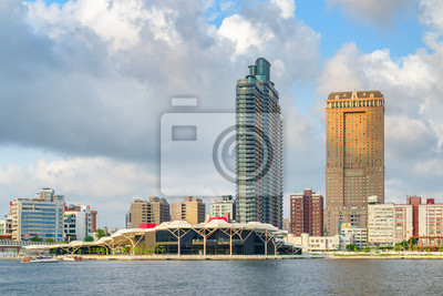 Kaohsiung skyline, Taiwan. Awesome view of Kaohsiung Harbor
