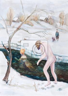 Kąpiel w lodu otworu