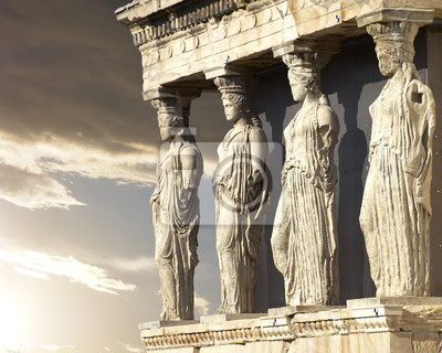 Obraz Kariatydy, Świątynia Erechtejon na Akropolu w Atenach, Grecja