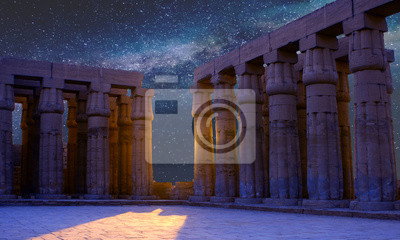 Obraz Karnak Temple, Colossal sculptures of ancient Egypt in the Nile Valley in Luxor, Embossed hieroglyphs on the wall