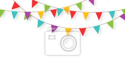 Obraz Karnawał wianek z flagami. Dekoracyjne kolorowe proporczyki party na obchody urodzin, festiwal i uczciwej dekoracji