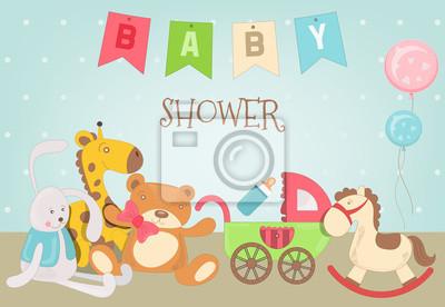 Karta baby shower z zabawkami. Ilustracji wektorowych.