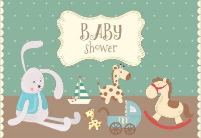 Karta baby shower z zabawkami. Projekt retro. Ilustracji wektorowych.