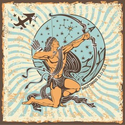 Obraz Karta Strzelec zodiak sign.Vintage Horoskop