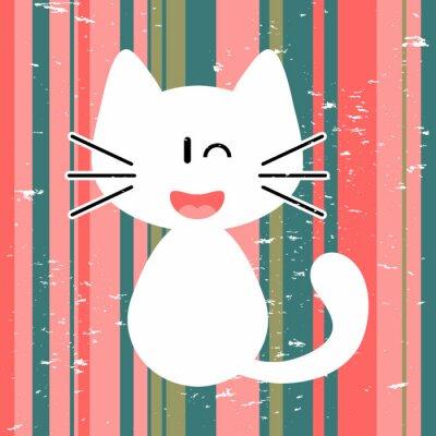 Obraz Karta Vector z cute biały kotek