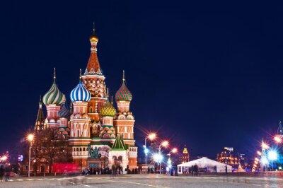 Obraz Katedra Night Shot Moskwie Świętego Bazylego