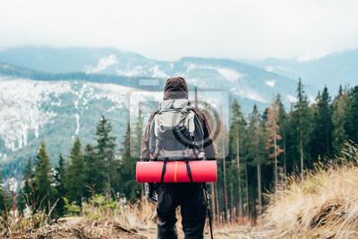 Obraz kaukaski mężczyzna wędrówki w górach