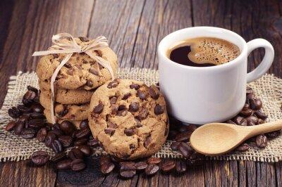 Obraz Kawa i ciasteczka czekoladowe