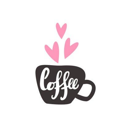 Kawa. Ładny karty z napisem
