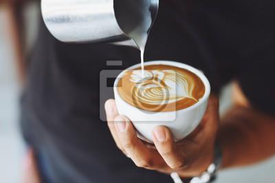 Obraz kawa latte w kawiarni Cafe
