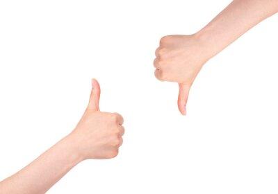 Kciuki w górę i kciuk w dół. Rozmiar XXL