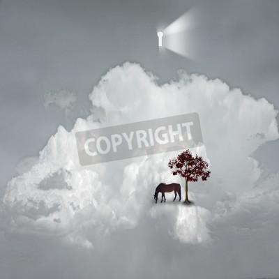Obraz keyhole emits light in dreamlike scene