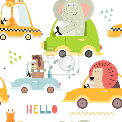 Kids transport seamless pattern with cute animals and cars. Vector Illustration. Great for baby clothes, greeting card, wrapping paper. Bear, lion, elephant, giraffe.
