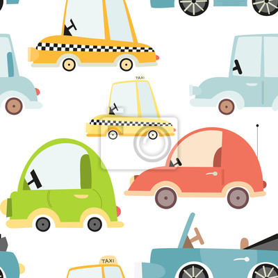 Kids transport seamless pattern with cute cars. Vector Illustration. Great for baby clothes, greeting card, wrapping paper. Car, taxi, cabriolet.