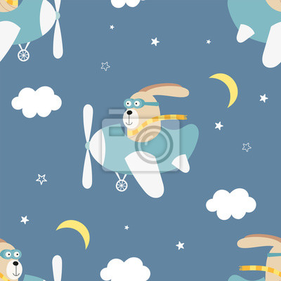 Kids transport seamless pattern with cute hare on airplane. Vector Illustration. Great for baby clothes, greeting card, wrapping paper. Rabbit on plane.