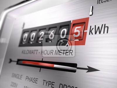 Obraz Kilowatogodzinę licznik elektryczny, licznik zasilania - widok z bliska. 3d renderowania