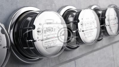 Obraz Kilowatogodzinę metrów elektryczne, Mierniki mocy. 3d renderowania