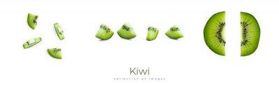 Obraz Kiwi slice on a white background. Macro photo.