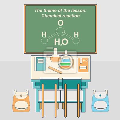 Klasa w szkole z biurkiem i tablicą. Klasa chemiczna