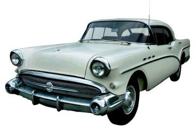 Obraz klasyczny biały samochód retro samodzielnie