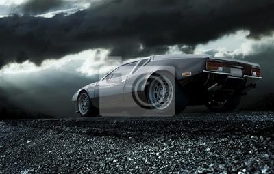 Obraz Klasyczny sportowy samochód w nocy