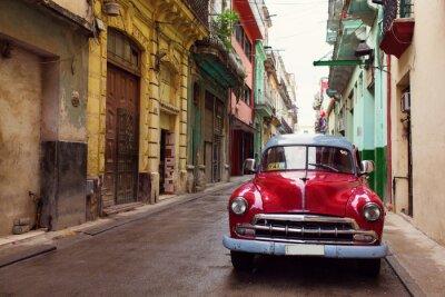 Obraz Klasyczny stary samochód na ulicach Hawany na Kubie