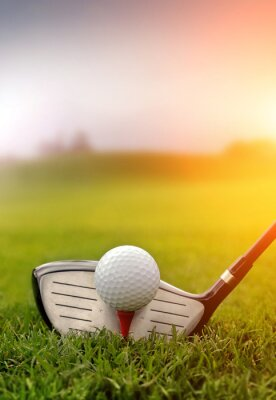 Obraz Klub golfowy i piłka w trawie
