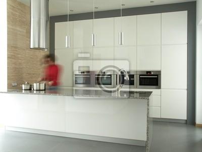 Kobieta Gotowania W Nowoczesne Wnętrza Kuchni Obrazy Redro