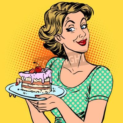 Obraz Kobieta i deser kawałek ciasta. Jedzenie niespodzianka uczta