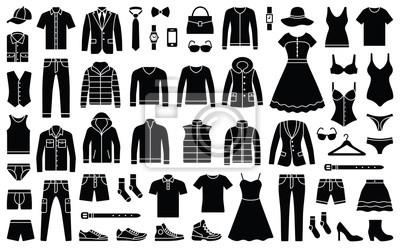 Obraz Kobieta i mężczyzna kolekcja ubrań i akcesoriów - szafa moda - ikona ilustracja sylwetka wektor